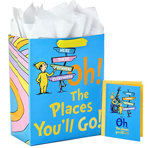 Hallmark 13' Large Dr. Seuss Graduation Gift Bag with Tissue Paper and Graduation Card (Oh! the Places You'll Go!) for High School, Kindergarten, College, Nursing School Grads