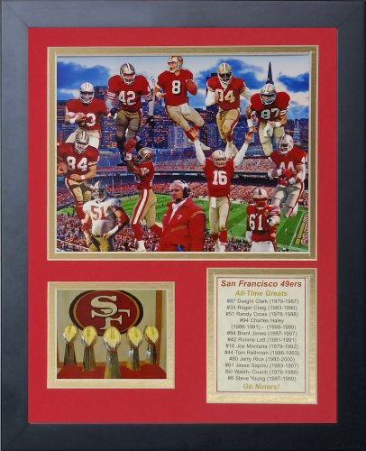 "Legends Never Die San Francisco 49ers Greats of The NFL Collectible | Framed Photo Collage Wall Art Decor - 12""x15"""
