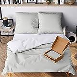 Wolkenfeld Bettwäsche 200x200 grau weiß - kuschelig weich & bügelfrei - 3teilig - [1x] Bettbezug + [2X] Kissenbezug 80x80