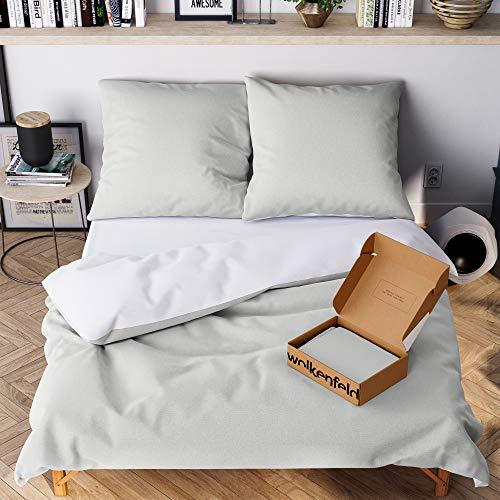 Wolkenfeld Bettwäsche 135x200 4teilig grau weiß - kuschelig weich & bügelfrei - Bettwäsche-Sets mit [2X] Bettbezug + [2X] Kissenbezug 80x80