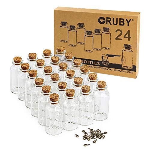 RUBY - 24 Botellas de Deseo 30 x 60mm(25 ml Aprox), Mini Botellas de Cristal con Tapones de Corcho, Mensaje, Deseo de Fiesta de Bodas. (24 PCS, 60 x 30mm)