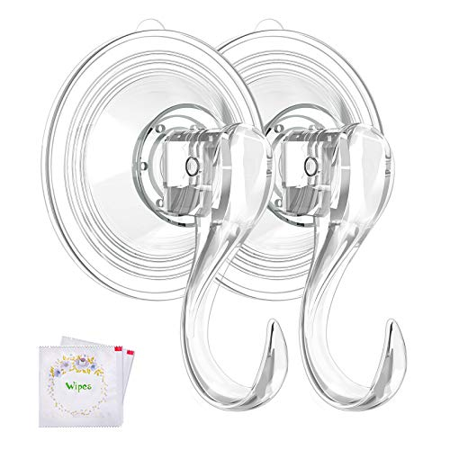 VIS'V Wreath Hanger, Large Clear Reusable Heavy Duty Wreath Hanger Suction Cup with Wipes 22 LB Strong Window Glass Suction Cup Hooks Wreath Holder for Halloween Christmas Wreath Decorations - 2 Packs