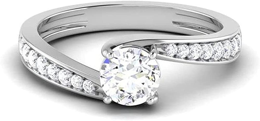 Classic Round Engagement Rings for Women 10K 14K 18K White Gold, 1-1/4 Carat(ctw) Moissanite Twisted Engagement Rings Wedding Anniversary with Text Engraving
