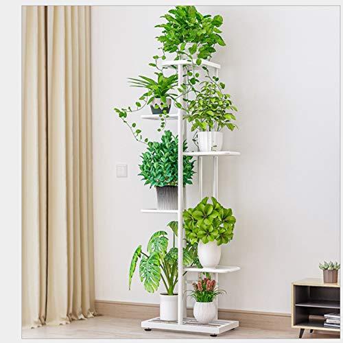 Porta piante in metallo, portavasi in ferro battuto, porta piante da esterno con 6 ripiani, porta fioriera mensola porta fiori per balcone di casa giardino 22x43,5x103 cm(bianca)