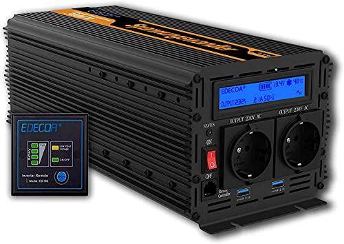 EDECOA inversor 3000w transformador de corriente 12v 220v onda sinusoidal modificada...