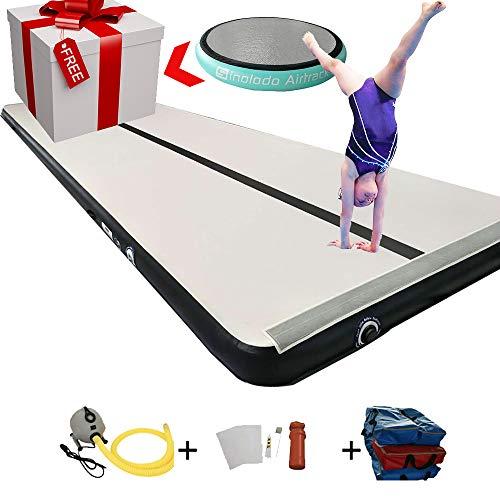 Sinolodo - Colchoneta hinchable para ejercicios de gimnasia, equipo de gimnasia, 27'x6.6'x8''/ 8x2x0.2m, GreySurfaceBlackSide