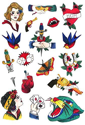 Temporäre Tattoos mit Old School Motiven, Tattoo Set von Tatsy, original Oldschool Design, Party Spaß Tattoos, Fake Tattoo zum Aufkleben, Body Art Klebetattos für Männer u Frauen, Vintage Bilder
