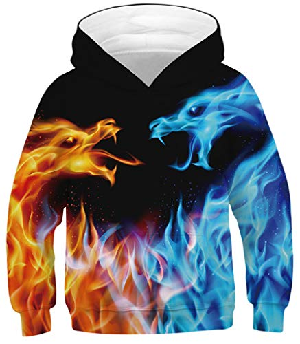 GLUDEAR Youth Girls Boys 3D Galaxy Printed Pockets Sweatshirts Jacket Pullover Hoodies,Ice and Fire Dragon,13-15T