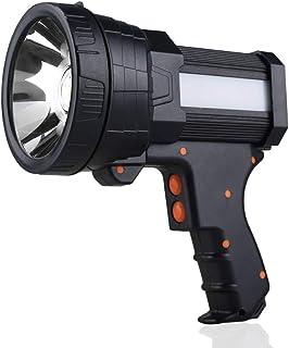 YIERBLUE Rechargeable spotlight, Super Bright 6000 Lumen LED Flashlight Handheld spotlight 10000mAh Long Lasting Large Fla...