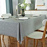 DARUITE Mantel Antimanchas, Look Lino Grueso Gris Mantel PVC Plastico Mesa Rectangular Impermeable 137 x 240 cm de Comedor, Exterior, Cocina, Picnic