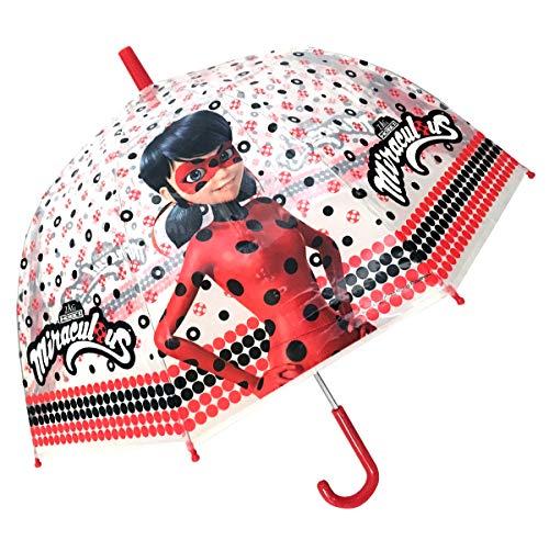 Chanos Chanos Miraculous Lady Bug Manual Dome Shape PoE Transparent Folding Umbrella, 45 cm, Red and White Paraguas Plegable, Rojo (Red White)