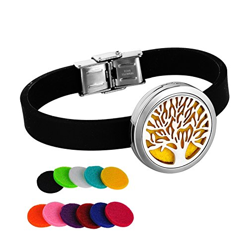 HOUSWEETY Aromatherapy Essential Oil Diffuser Bracelet-Stainless Steel Locket Pendant,11 Refill Pads(Non-Engraving)