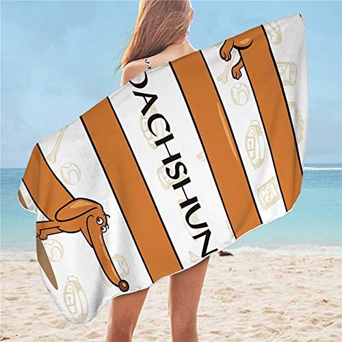 NDLENG Dachshund Toalla de baño Cuarto de baño del Perrito de Microfibra Toalla de Playa para el Adulto Colorido Dog Beach Mat 75x150 4 75cmx150cm