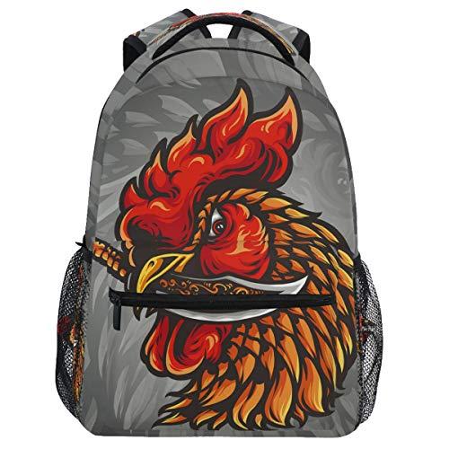 Oarencol Rooster Knife Backpack Vintage Cock Animal Bookbag Daypack Travel Hiking Camping School Laptop Bag