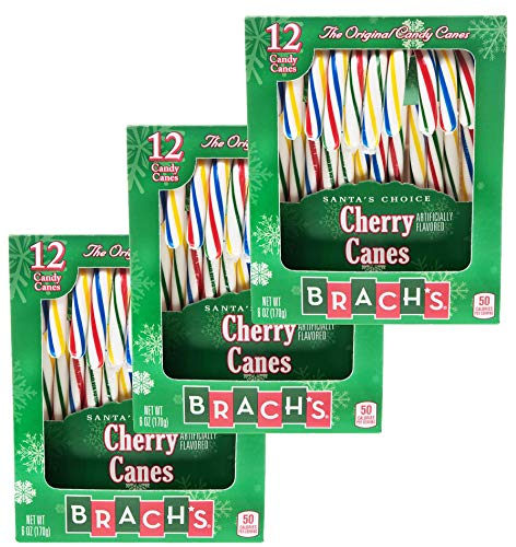 Brachs Cherry Candy Canes 6 oz. 12 Ct for Christmas - Assortment Variety - 3 Pack (Cherry)