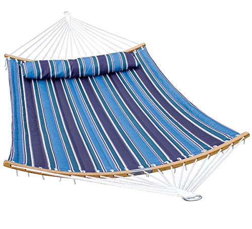 SUNLAX Double Hammock Quilted Fabric Swing with Strong Curved-Bar Bamboo, Detachable Pillow, Horizon Blue