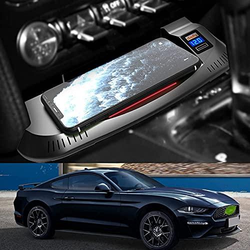 para Ford Mustang 2015-2021 Todos los Modelos Placa Carga inalámbrica de Coches,15W con el teléfono QC3.0 Especial USB de Carga rápida Almohadilla con Cargador inalámbrico Conector USB Dual del Coche