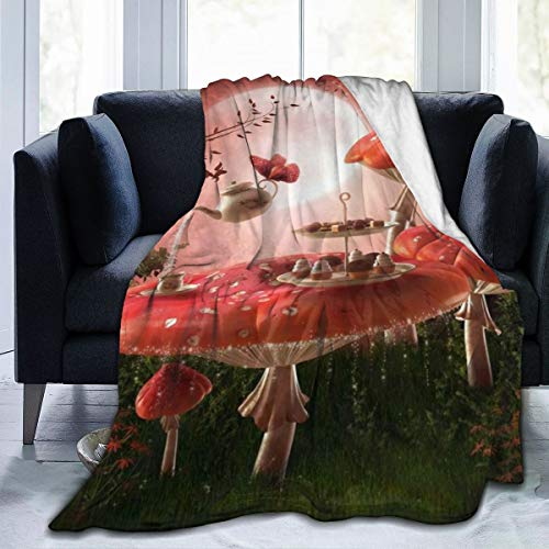 GugeABC Ultra-Soft Micro Fleece Blanket,Fairytale Gazebo Retro Colorful Pavilion Hanging Lanterns On Meadow Flowers Spring Nature Scenic,Home Decor Warm Throw Blanket for Couch Bed,80'X 60'