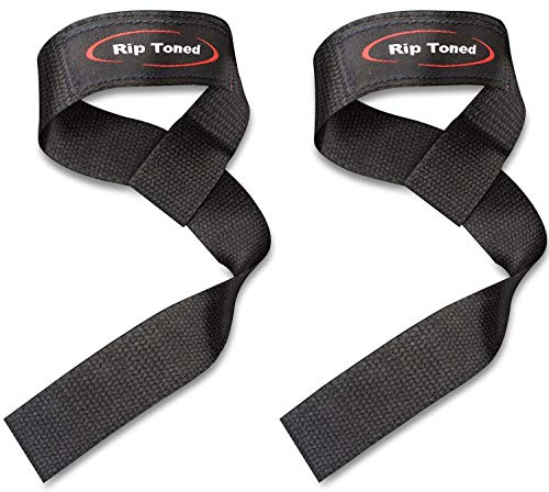 Image of the Rip Toned Lifting Wrist Straps (Pair) - Cotton - Neoprene Padded - for Weightlifting, Bodybuilding, Xfit, Strength Training, Powerlifting, MMA