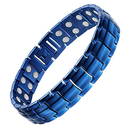 Jecanori Magnetic Titanium Steel Bracelet for Men Pain Relief for Arthritis Carpal Tunnel Syndrome Titanium Steel Double Row 3500 Gauss Magnets Blue Stain Steel Magnetic Therapy Bracelets