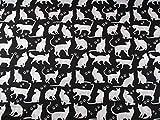 Stoffschreinerei Baumwollstoff (Katzen weiß auf schwarz)