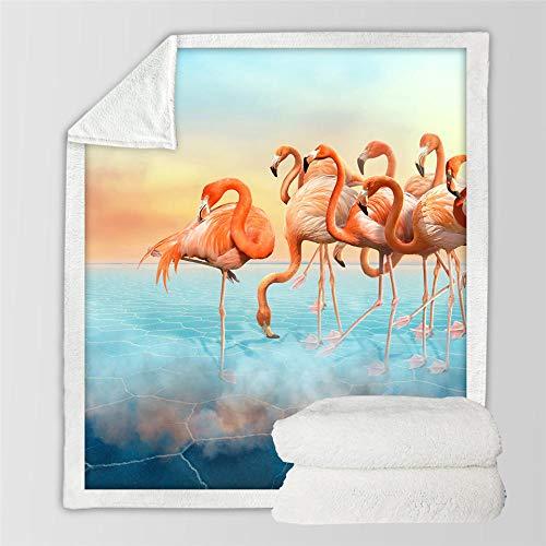 WTBDWOSH Franela De Cama Atardecer Flamenco Animal Manta De Franela 3D 180 X 220 Cm Toalla De Playa Alfombra Mantas De Picnic Suave Y Felpa Capa Para Oficina Hogar Dormitorio Sofá Camping Viaje