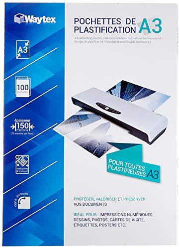Waytex Pack de 100 Feuilles de plastification A3 75 Microns, Finition Brillante, Transparente 78276