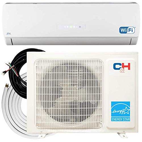 COOPER AND HUNTER 9,000 BTU 208-230V Ductless Mini Split Air Conditioner Heat Pump Inverter 27 SEER Including Installation Kit Fully WiFi Energy Star Rated