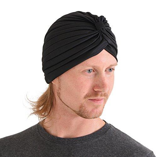 Casualbox Twist Plisado Cabeza Envolver Turbante Gorra Adivino Sombrero Retro Vintage Negro