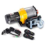 RUGCEL WINCH Waterproof IP68 Electric Winch with Hawse Fairlead,Steel Wire Rope, 1Wired Handle and 2 Wireless...