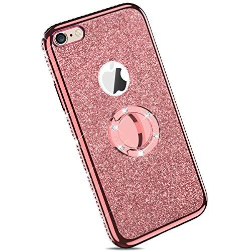Ysimee kompatibel mit iPhone 6 /iPhone 6S Hülle, Bling Schutzhülle Glänzend Weiche TPU Silikon HandyHülle Bumper Case mit Ring 360 Grad Ständer, Diamant Glitzer Case, Rose Gold