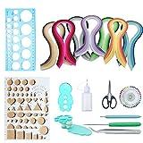 Woohome Papier Quilling Set mit 31 Farben 700 Streifen Quilling Papier und 10 Quilling Werkzeuge, 17 Stück