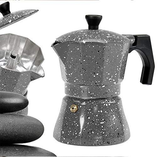 BAKAJI Caffettiera 1 Tazza in Alluminio Petra Stone con Guarnizione in Silicone Moka caffè Espresso caffè Napoletano Macchinetta caffè Argento per Tutte Le Fonti di Calore No Induzione Effetto Pietra