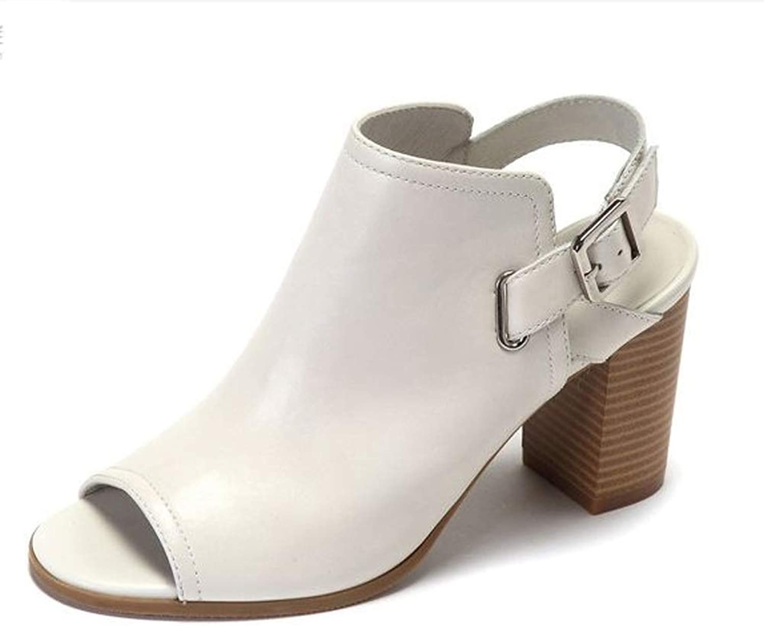 Women's shoes Summer Comfortable Fish Mouth Belt Buckle Thick with High Heels Sandals