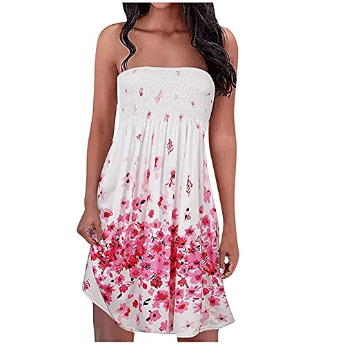 FULLSUNNY Damen Bandeau Kleid Sexy Trägerloses Tube Top Minikleid Ärmelloses Schulterfrei Boho Kleid Elegant Strandkleider