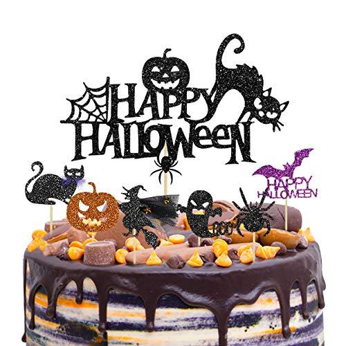 37 Halloween impreza dekoracja tortu babeczek toppery kostki dekoracje zestaw ciasto babeczka muffinka czarny kot pająk dynia nietoperz duch wiedźmy kształt wykałaczki do jedzenia na Halloween artykuły imprezowe tematyczne przyjęcie