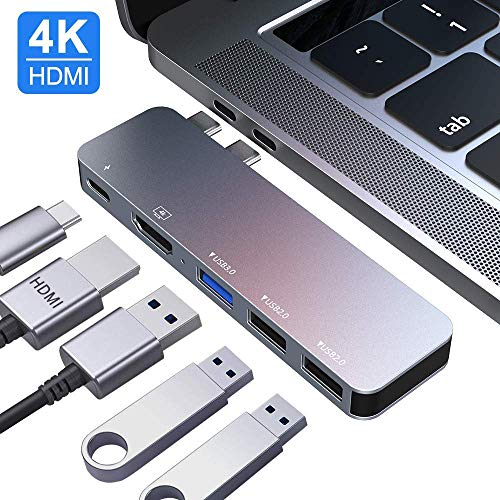USB C Hub MacBook Pro USB Accessories, USB C Dual Hub Multiport Adapter, Type C Hub with 4K HDMI Output, USB C Power Delivery, for MacBook Pro 13″and 15″2016/2017/2018/2019