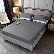 IKITOBI Sábana bajera ajustable para cama king size, color blanco, sábana bajera de 1,2 m, sábana de 120 x 200 cm + 30 cm