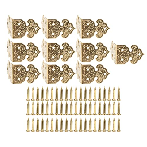 Corner Protector, Antique Brass Edge Corner Protectors Table Corner Conservation Tool for Jewelry Gift Wooden Boxes Cabinets(Brass)