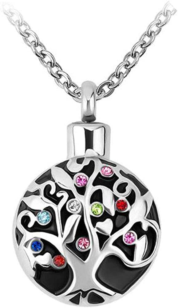 CharmSStory Family Tree Memorial Cremation Ashes Urn Pendant Necklace Keepsake Urn Jewelry