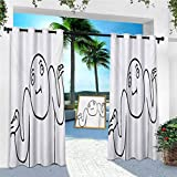 Aishare Store Outdoor Patio Curtains, Whatever Guy Meme Confusion Gesture Label Creative Drawing Rage Makers Design, 1 Panel W52 x L84 Outdoor Curtains for Gazebo Waterproof, Black White