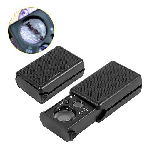 Mumusuki Mini 30X/60X Dubbele lenzen Pocket Oog Loupe Sieraden Vergrootglas met LED UV Lights Trek Type Glas Loupe