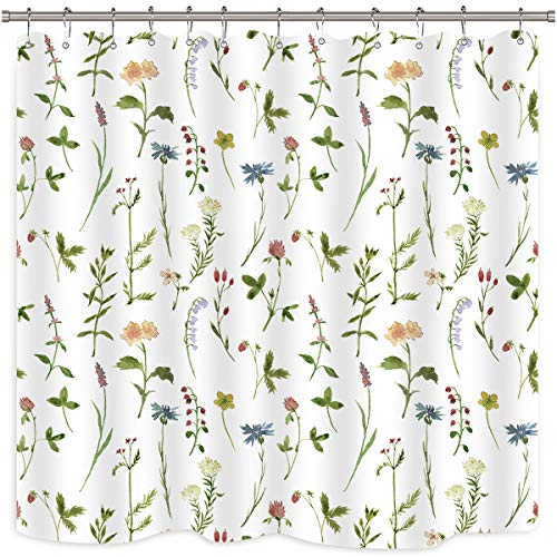 Riyidecor Botanical Shower Curtain Green Leaves Plant Flower Watercolor Herbs Spring Decor Bathroom Fabric Panel 72