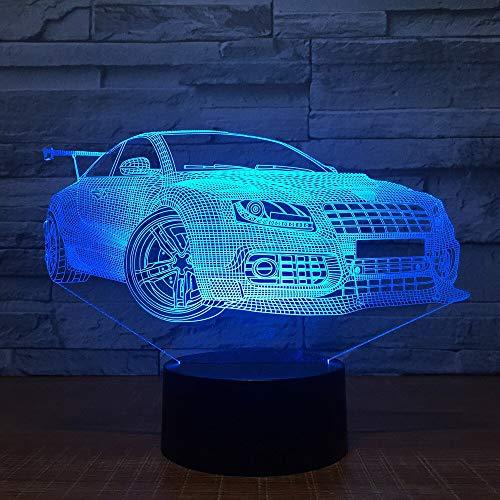 Lampada da tavolo moderna a LED da corsa 3D per auto da corsa e luce notturna LED decorazione per camera da letto per bambini regalo di compleanno