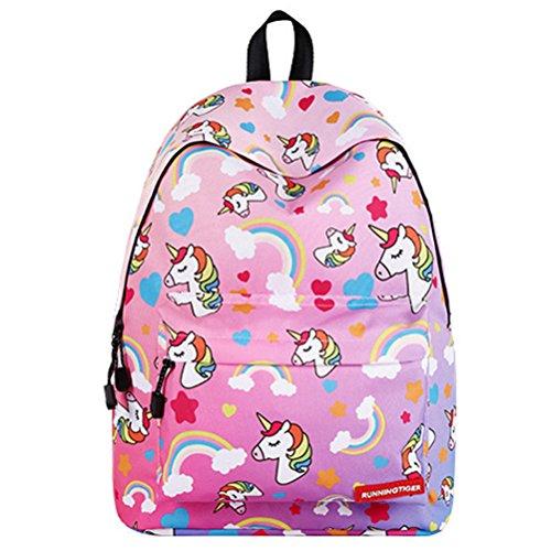 16'' Einhorn Schulrucksack für Unisex Jugendliche Leichtes Damen Herren Reise Rucksack Taschen Freizeit Laptoptasche Backpack (D)