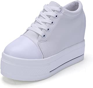 Womens Increased Within Shoes Wedge Platform Sneaker Lace Up Canvas