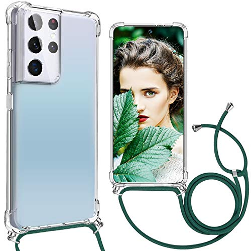 Chain Phone Case Compatible with Samsung Galaxy S21 Ultra Case Silicone Transparent Thin TPU Necklace Protective Case with Strap for Hanging Case Shockproof for Samsung S21 Ultra 5G Cover Transparent