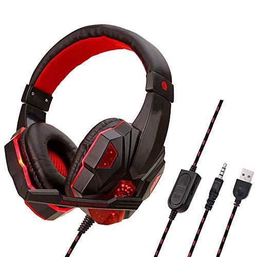 WHSS Auriculares para Juegos de Auriculares Ordenador PC/For PS4 / Xbox One/Switch y Dispositivos móviles compatibles, Que emite luz de reducción de Ruido Auriculares estéreo con micrófono