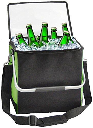 Chic to go Thermo-Kühltasche, zum Umhängen, schwarz-grün, 18 l, 30 x 20 x 30 cm