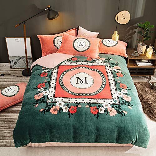 juegos de sábanas 105 x 190-Engrosado cálido de cuatro piezas de doble cara de franela de invierno versión grande juego de flores funda nórdica colcha cama doble individual funda de almohada individu